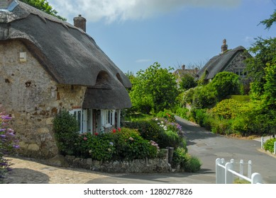 Traditional english vilage houses with thatched roof