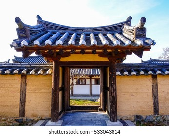 Traditional Entrance with Tiled Roof in Ancient Korean Architecture