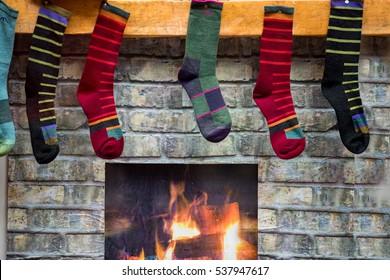 traditional epiphany stocking set up of socks