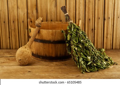 Traditional equipment for Russian bath from wood