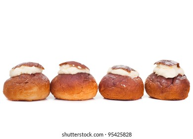 traditional Estonian shrove bun - vastlakukkel - on isulated white background