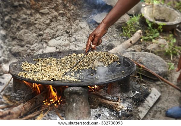 Traditional Ethiopian coffee beans roasting