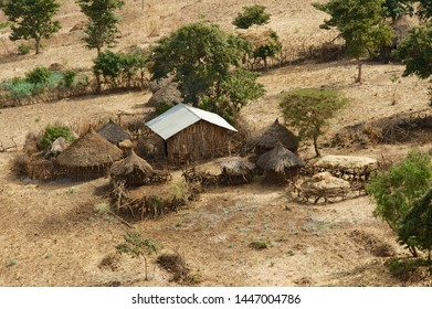 Traditional Ethiopian wooden village houses with straw roofs near Gondar, Ethiopia.