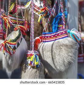 Traditional ethnographic sami bag made of deer fur. Norway.