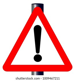 The traditional 'EXCLAMATION' triangle, traffic sign isolated on a white background..