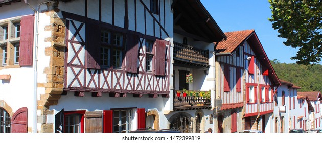 Traditional facades in La Bastide Clairence, in the Basque Country in France, Europe