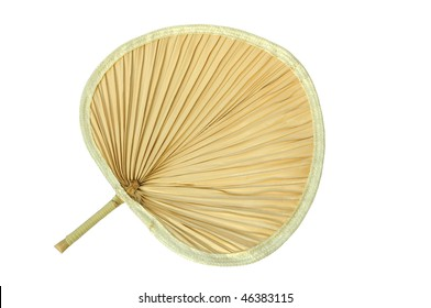 Traditional Fan Made Of Palm Leaf In Isolation