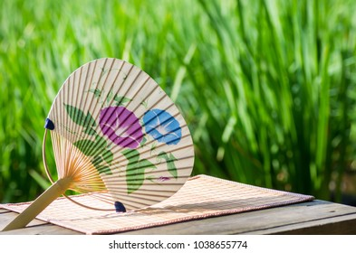 "Traditional fan which symbolizes the summer of Japan. It is called ""Uchiwa"" in Japanese."