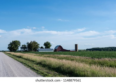 Traditional farmstead in the midwestern USA along a rural road with soybean fields