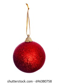 Traditional festive decoration. Red Christmas bauble, glittery, isolated on white.