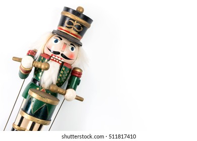 Traditional Figurine Christmas Nutcracker Wearing A Old Military Style Uniform.