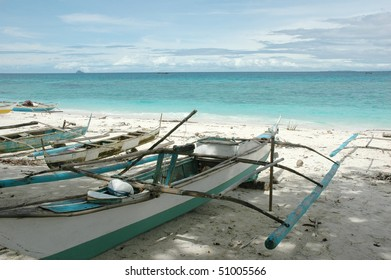 traditional filipino boat on the beach, Philippines