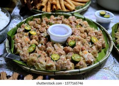 Traditional Filipino food prepared during fiesta - siomai