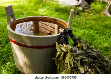 Traditional Finnish Sauna bath whisks and wooden bucket. Finnish Summer items.