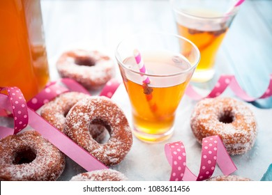 Traditional finnish sima and sugar donuts