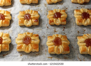 """Traditional Finnish sweet Christmas pastries called """"Joulutorttu"""" in Finnish. These are sweet pastries with some cinnamon apple jam in the middle. Enjoy delicious and merry Xmas!"""