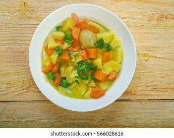 Traditional Finnish vegetable soup - summer soup Lohikeitto
