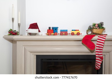 Traditional fireplace scene in the Christmas