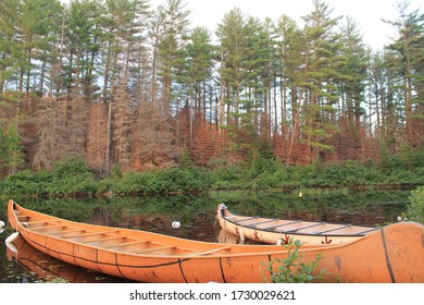 Traditional first nation canoe in Canada