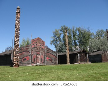 Traditional first nation people house and totem pole in Hazelton, Canada, BC