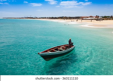 Traditional fisher boat in Santa Maria  in Sal Island in Cape Verde - Cabo Verde