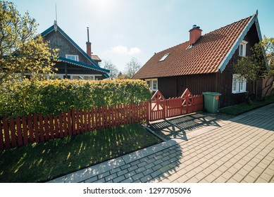Traditional fisherman's house in Nida, Lithuania. Nida is a resort town in Lithuania. Located on the Curonian Spit between the Curonian Lagoon and the Baltic Sea. Unesco heritage