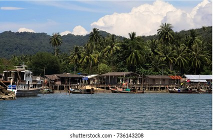 Traditional Fishermen Village in a Island in Thailand on a sunny day