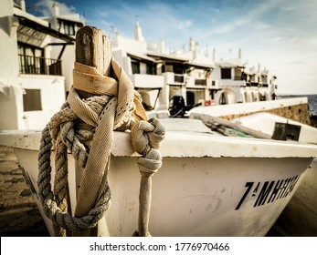 Traditional fishing boat in Binibeca,Menorca,balearic Islands