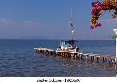Traditional fishing boat at Corfu island in Greece