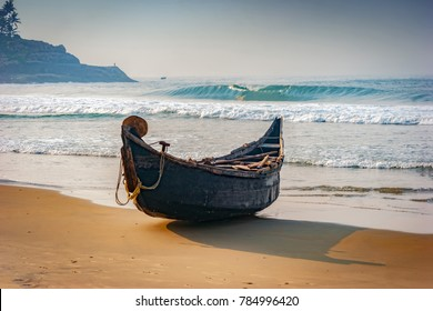 A traditional fishing boat at Kovalam coast; Fishing is an important source of livelihood in this part of Indian sub-continent, Kovalam, Kerala, India