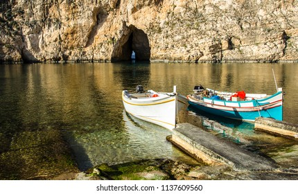 Traditional fishing boats  at the Inland Sea of Gozo