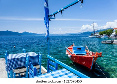 Traditional fishing boats lying in the harbor of Trikeri on the greek peninsula Pilion