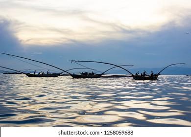 Traditional Fishing Boats on Lake Kivu, Rwanda.