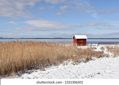 Traditional fishing cabin at Farjestaden on the swedish island Oland