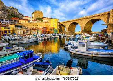 Traditional fishing harbor Vallon des Auffes with picturesque houses and boats, Marseilles, France