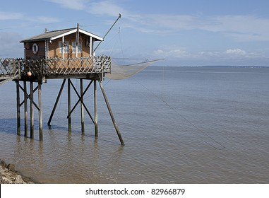 A traditional fishing hut on the Gironde river in France