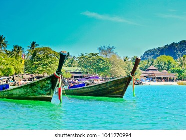 Traditional fishing longtail boats on the tropical beach, Krabi, Thailand