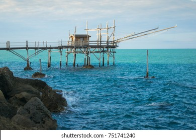 "Traditional fishing machine in Abruzzo, Italy: the ""trabocco"""