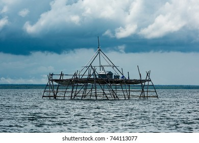 Traditional fishing structure built with bamboo called Bagang,