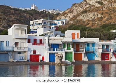 Traditional fishing village of Klima at Milos island in Greece