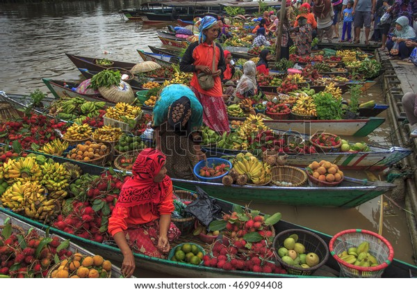 A Traditional Floating Market in Banjarmasin, Borneo Indonesia. Date taken 08 March 2014