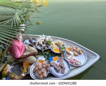 Traditional Floating Market at Pengkalan Datu Kelantan Selling Various Traditional Food of Kelantan