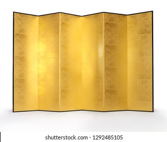 Traditional folding screens covered with gold leaf