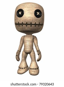 Traditional folk magic voodoo doll with sewn button eyes and stitched mouth. Isolated illustration cutout on clean white background.