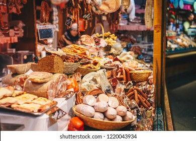 Traditional food Christmas Market shop in Vienna advent fairs