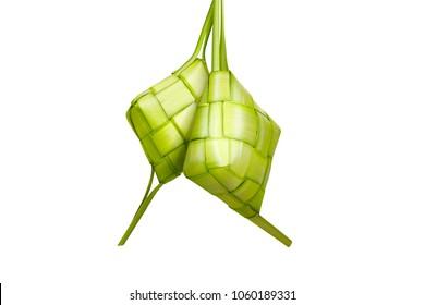 Traditional food of Indonesia during Eid Mubarak isolated over white background (ketupat)
