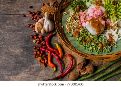 traditional food of indonesia. (Karedok) Sundanese food in Indonesia. Karedok is made with raw vegetable ingredients and flush with peanut spice