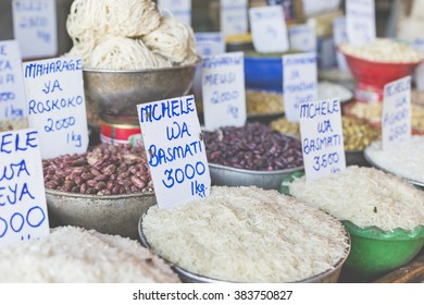 Traditional food market in Zanzibar, Africa.