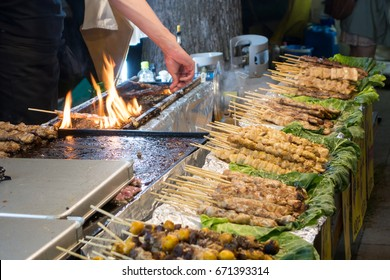 Traditional food stall at festival in Japan.Yakitori