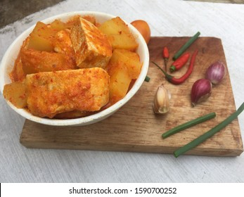 Traditional food the Tofu with spicy and tomatoes sauce